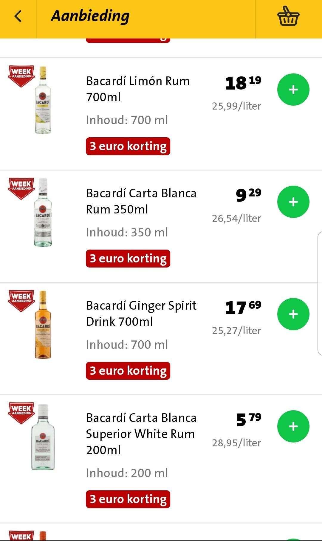 Bacardi 3 euro korting, ook op kleine flesjes