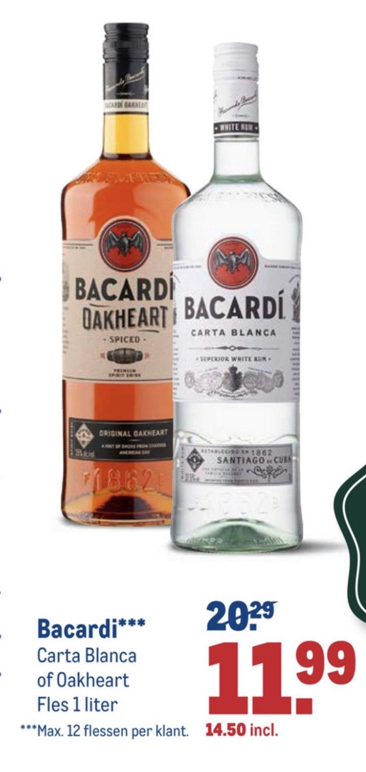 Bacardi Carta Blanca of Oakheart 1L voor €14,50 incl. btw bij Makro!