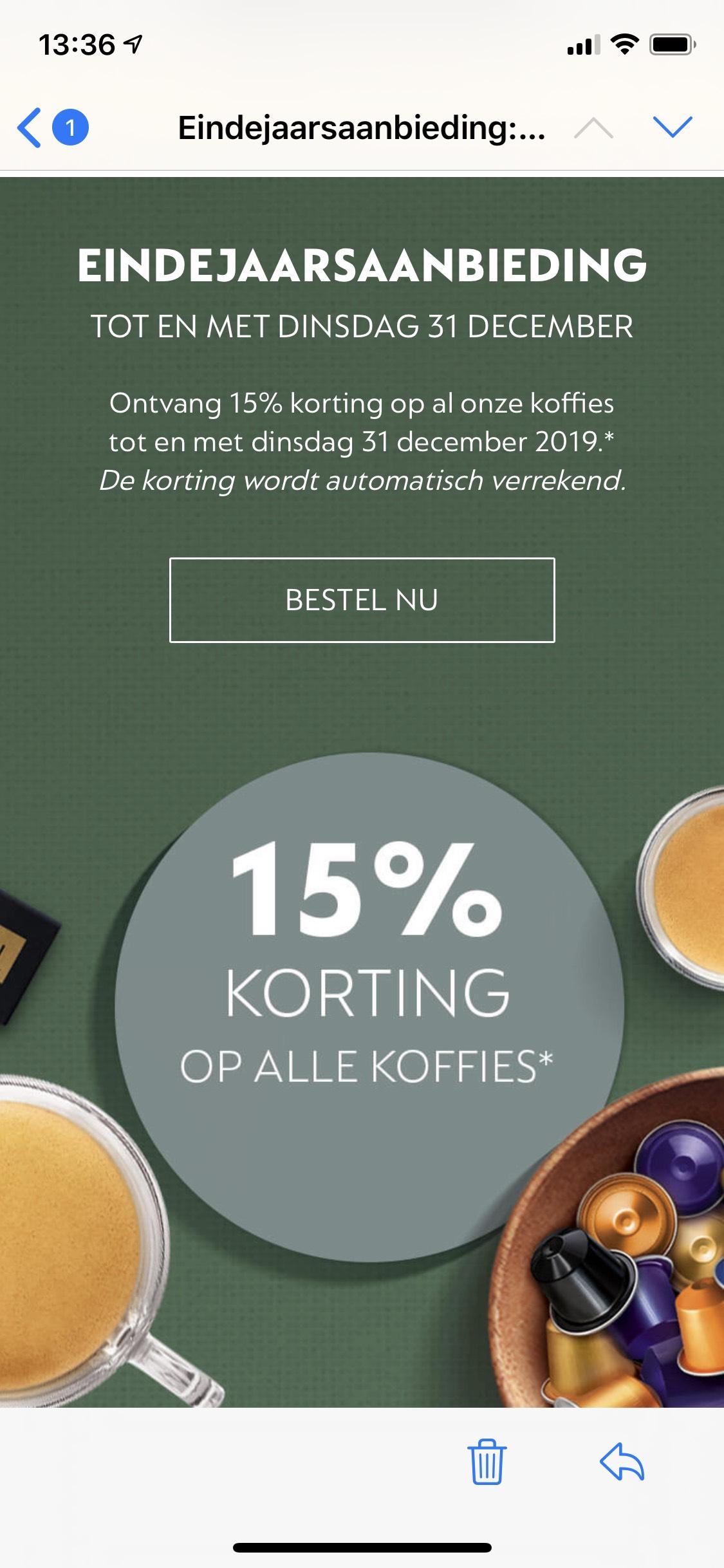 15% korting op alle Nespresso koffies