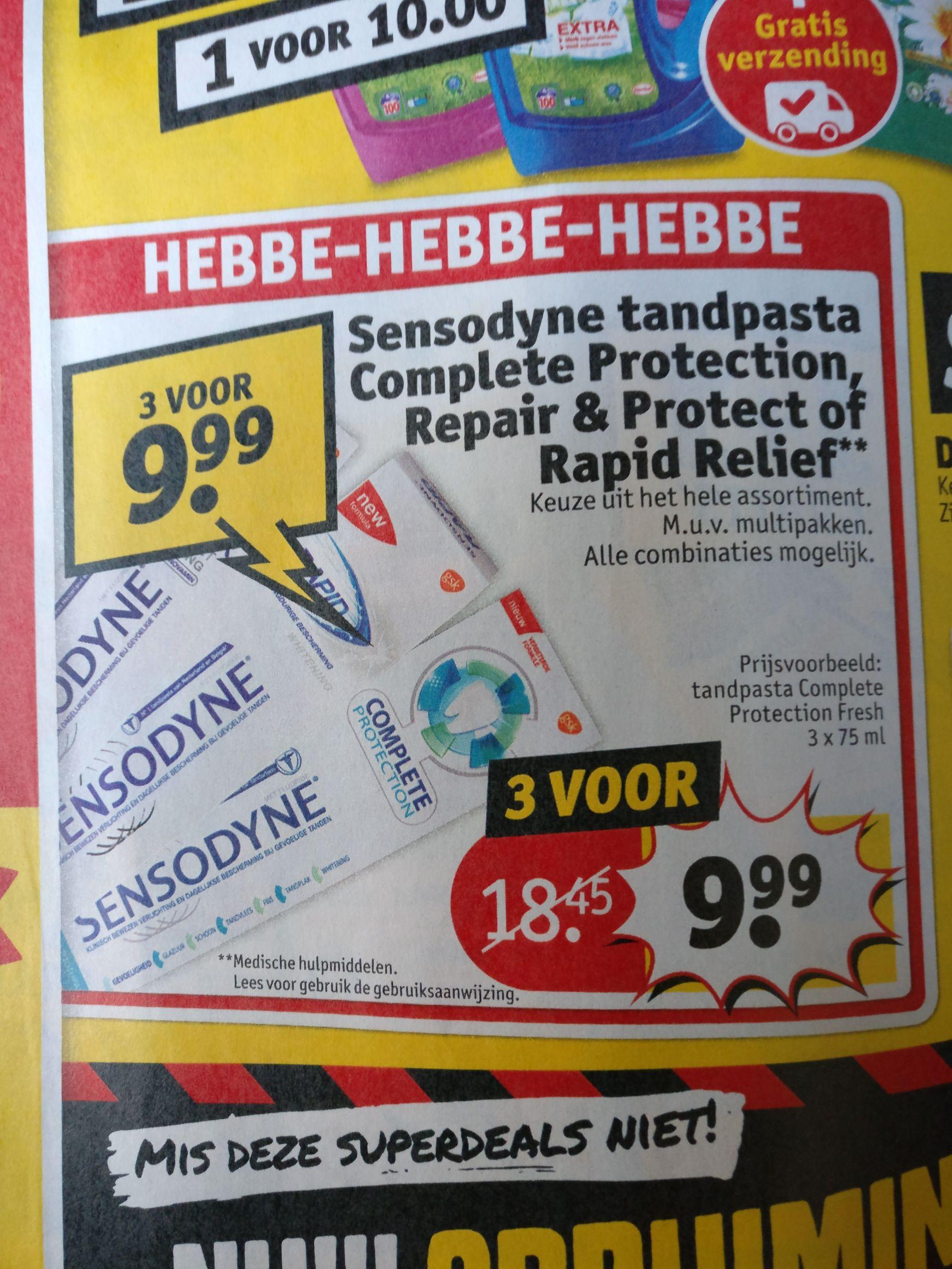 Kruidvat aanbieding: Sensodyne tandpasta complete protection & repair en protect voor 3,33
