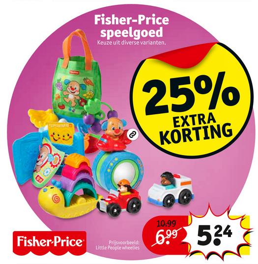 25% extra korting op Fisher speelgoed @ Kruitvat