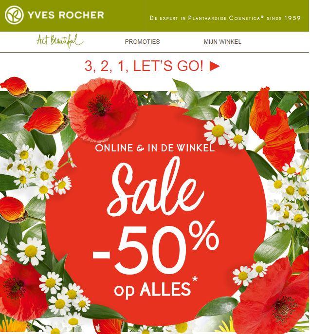50% korting op (bijna) alles bij Yves Rocher