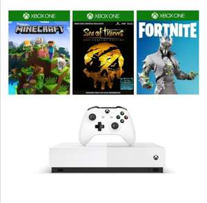 Xbox one s all digital + sea of thieves, fornite en minecraft