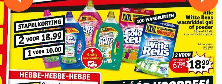 Witte, Frisse en Color Reus XXXL 100 wasbeurten 1x €10 of 2x €18.99 @kruidvat