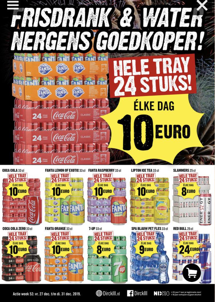 24 blikjes drinken €10 bij DirkIII