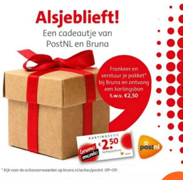Gratis €2,50 cadeaukaart bij versturen pakket @Bruna