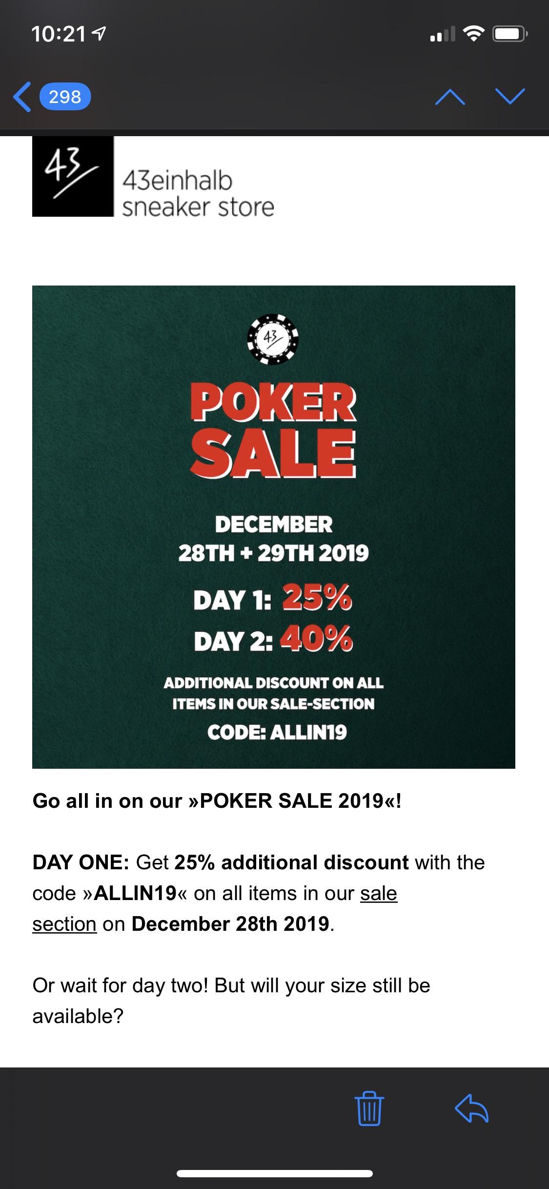 40% korting op sale bij 43einhalb.com