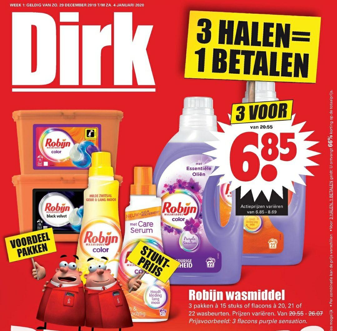 Alle Robijn wasmiddel 3 halen 1 betalen Dirk