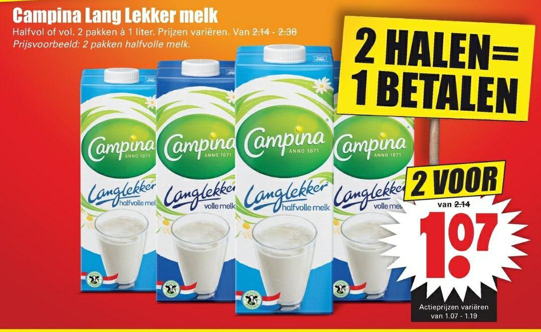 Campina Langlekker melk halfvol of vol 2 halen 1 betalen bij Dirk