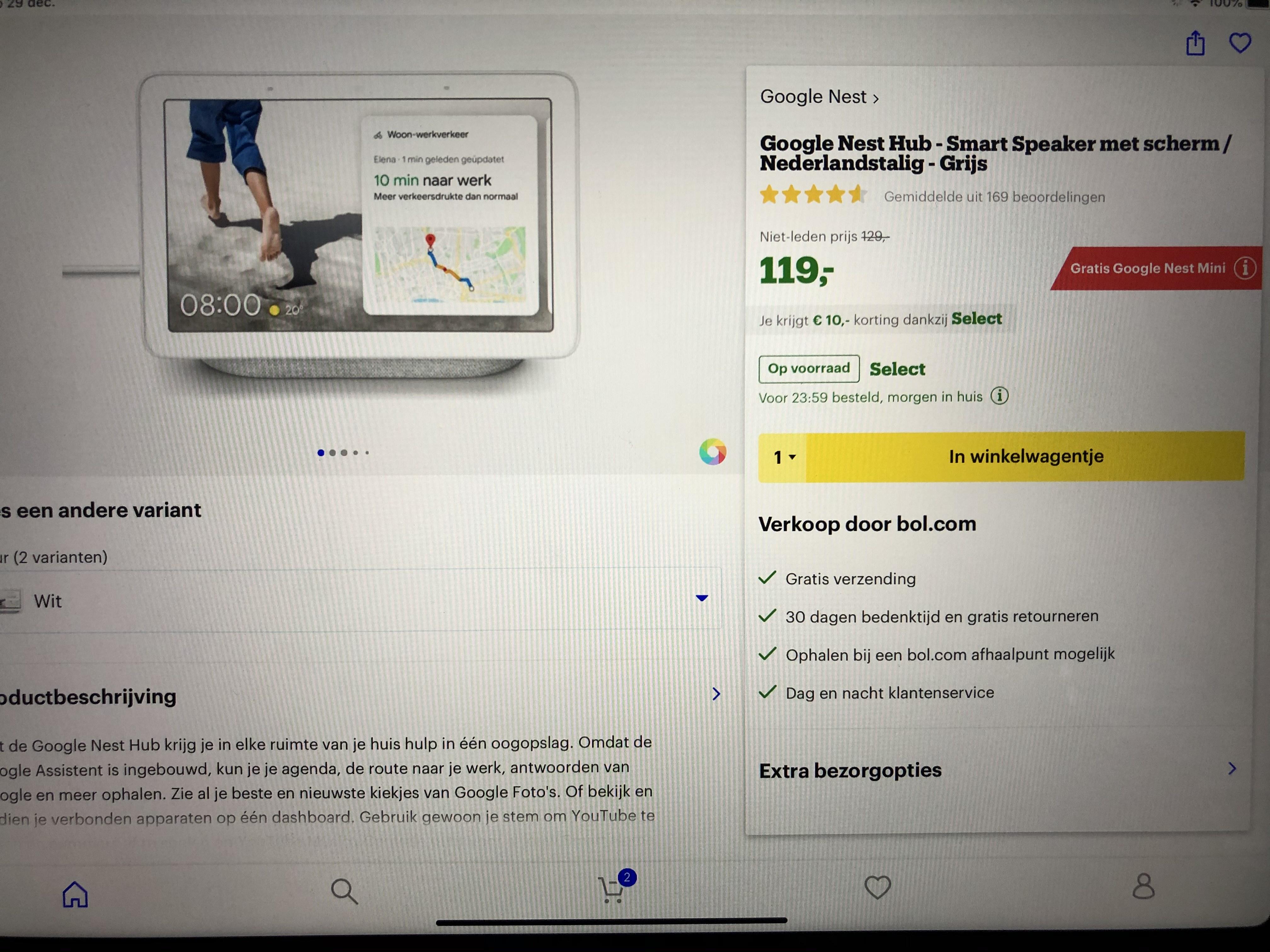 Google Nest Hub + gratis Google Nest Mini