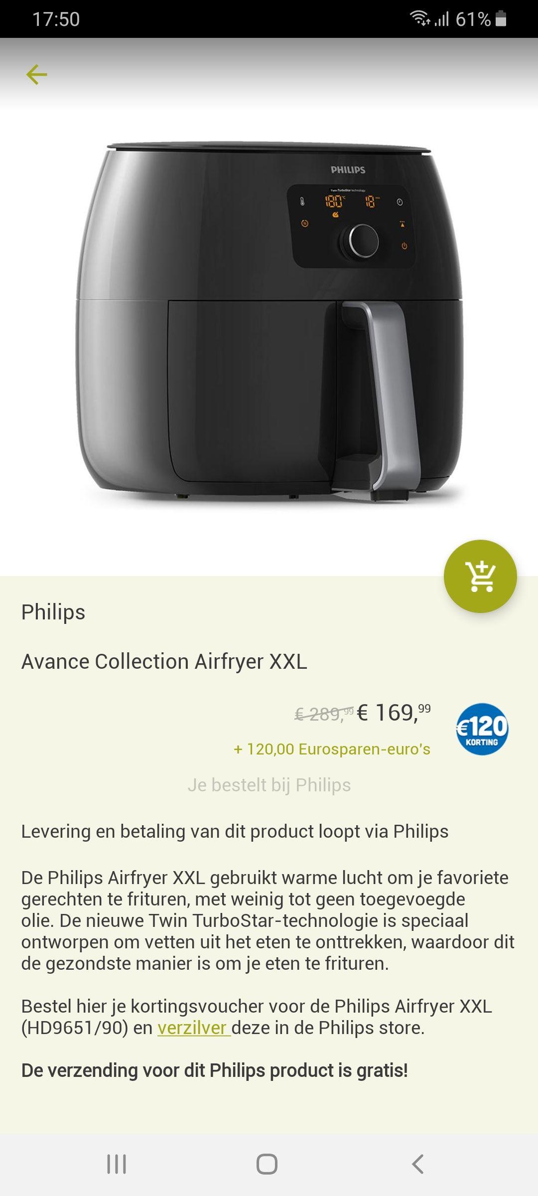 Philips airfryer XXL HD9651/90 bij eurosparen.