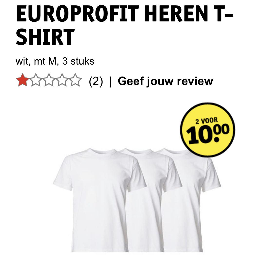 6 witte heren t-shirts maat M voor €10 = €1,67 per T-shirt!