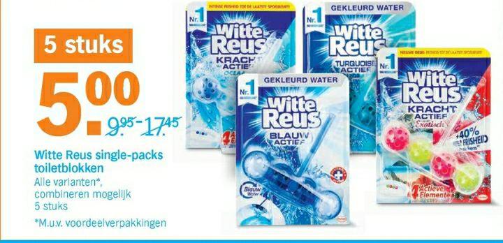 Witte Reus Single Packs toiletblokken 5 voor 5 euro Albert Heijn AH