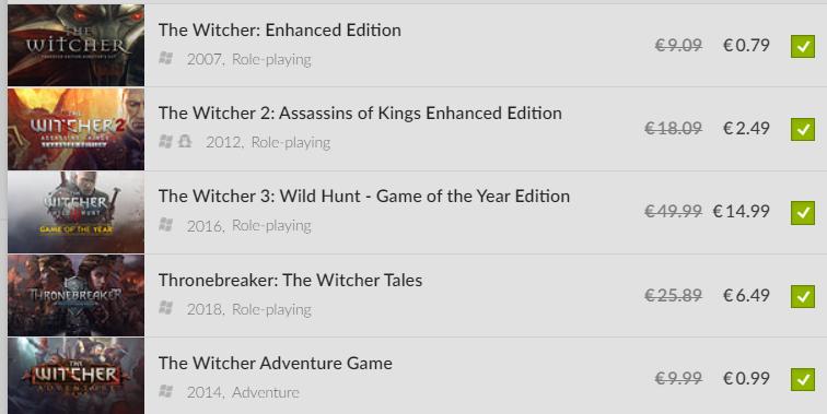 The Witcher 1-3 + Thronebreaker + The Witcher Adventure Game voor PC voor €25,75 @ gog