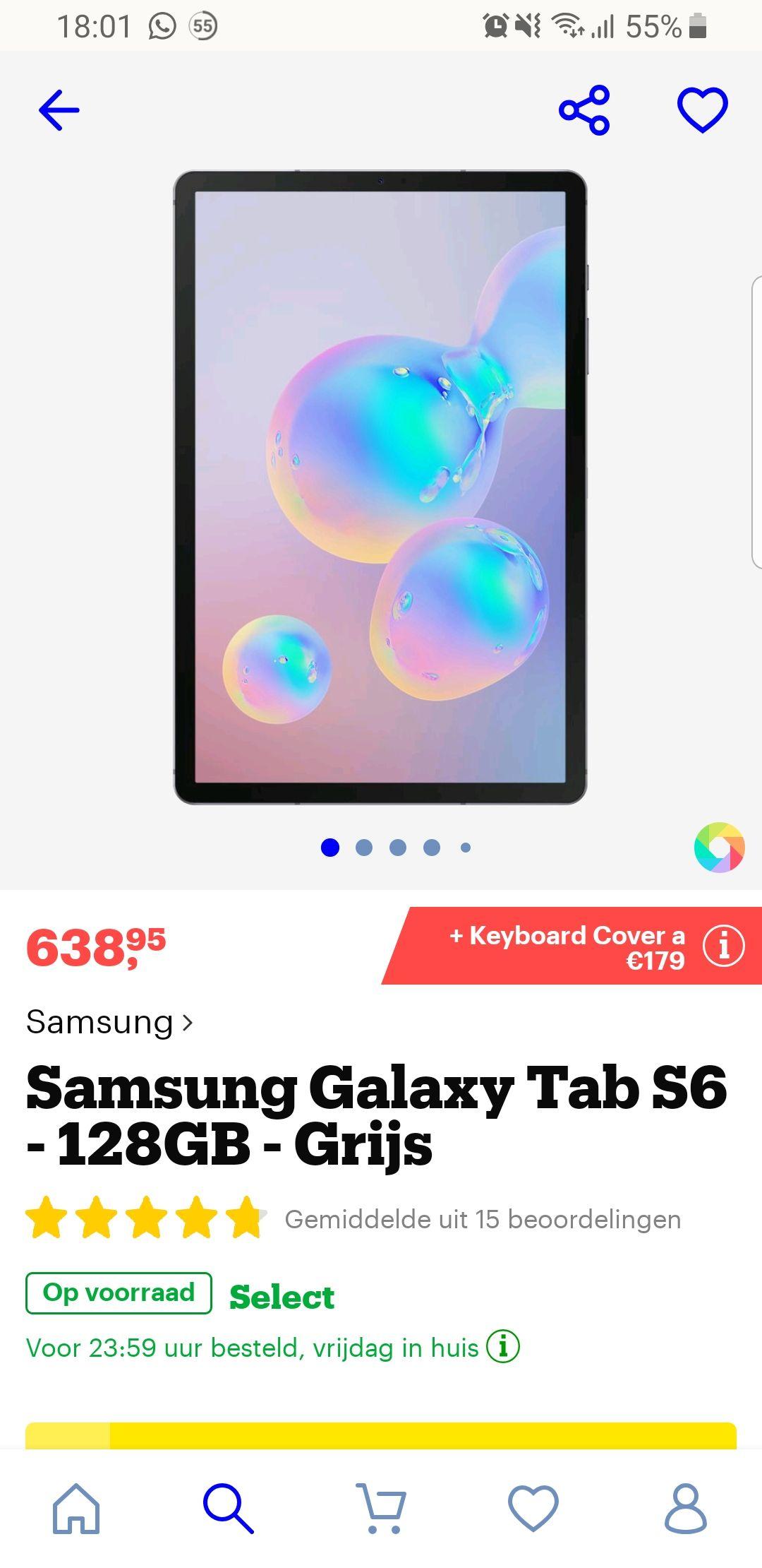 NU NOG LAGER: Samsung Galaxy Tab S6 + gratis typecover twv €179,-