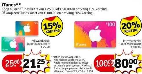Tot 20% korting op iTunes kaarten @ Kruidvat