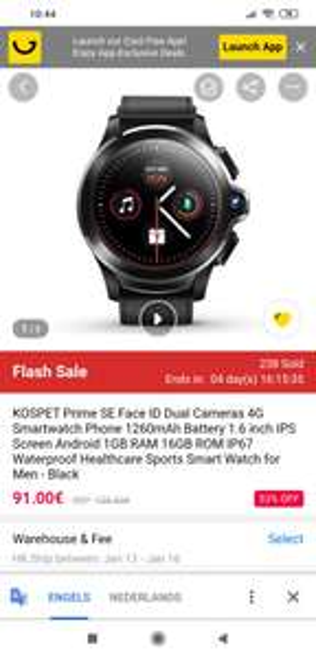 Kospet Prime SE smartwatch met GPS en face ID