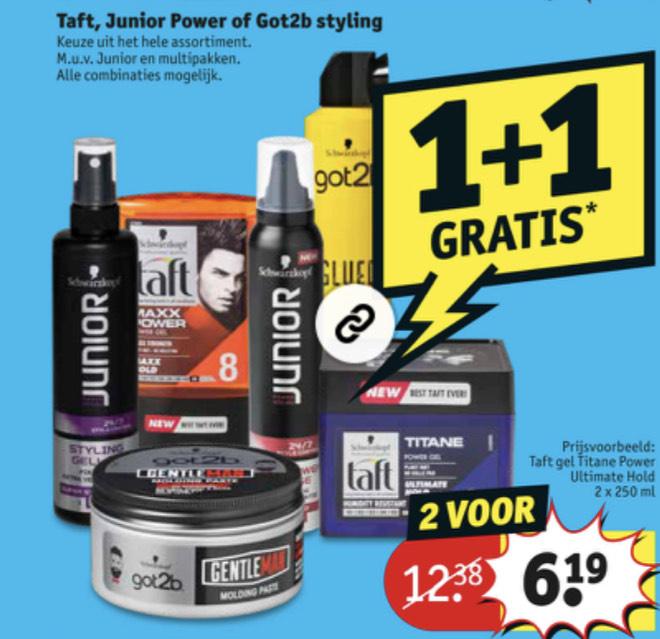 Taft, junior en got2b 1+ 1 gratis | Kruidvat