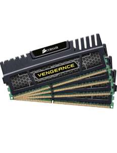 Corsair Vengeance geheugen (DDR3 1600 MHz), zwart 16 GB met 4 x 4 GB @Amazon.co.uk