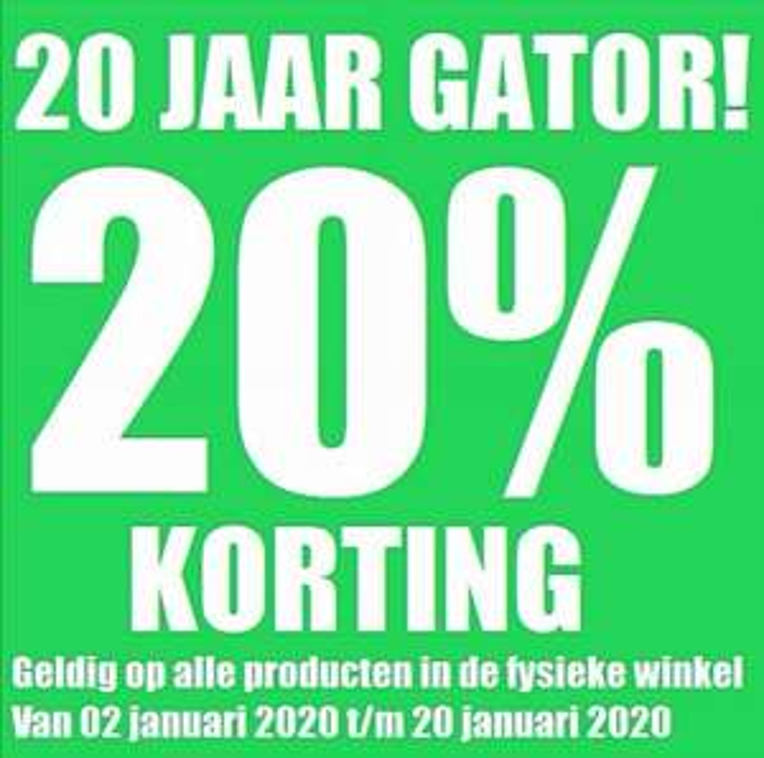 Lokaal bij Gator Merchandise 20% korting op ALLE producten in de fysieke winkel in Nijmegen
