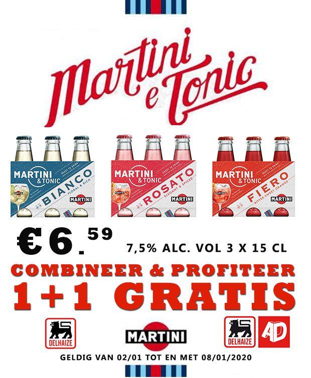 Grensdeal België - Martini & Tonic 1+1 gratis = €7,32 per liter