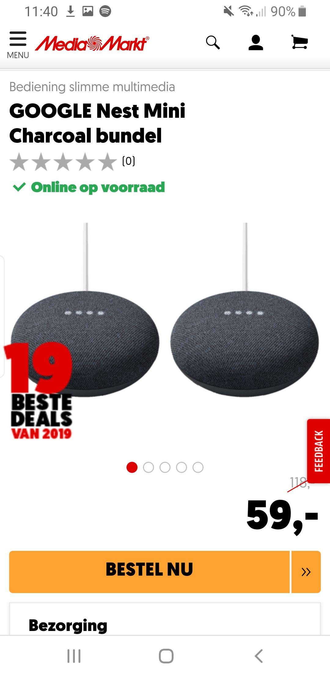 Bundel (2 stuks) Google Nest mini