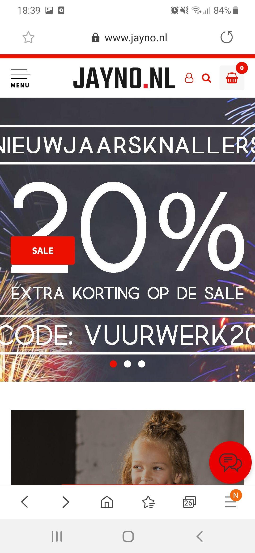 20% extra korting op sale bij jayno kinderkleding