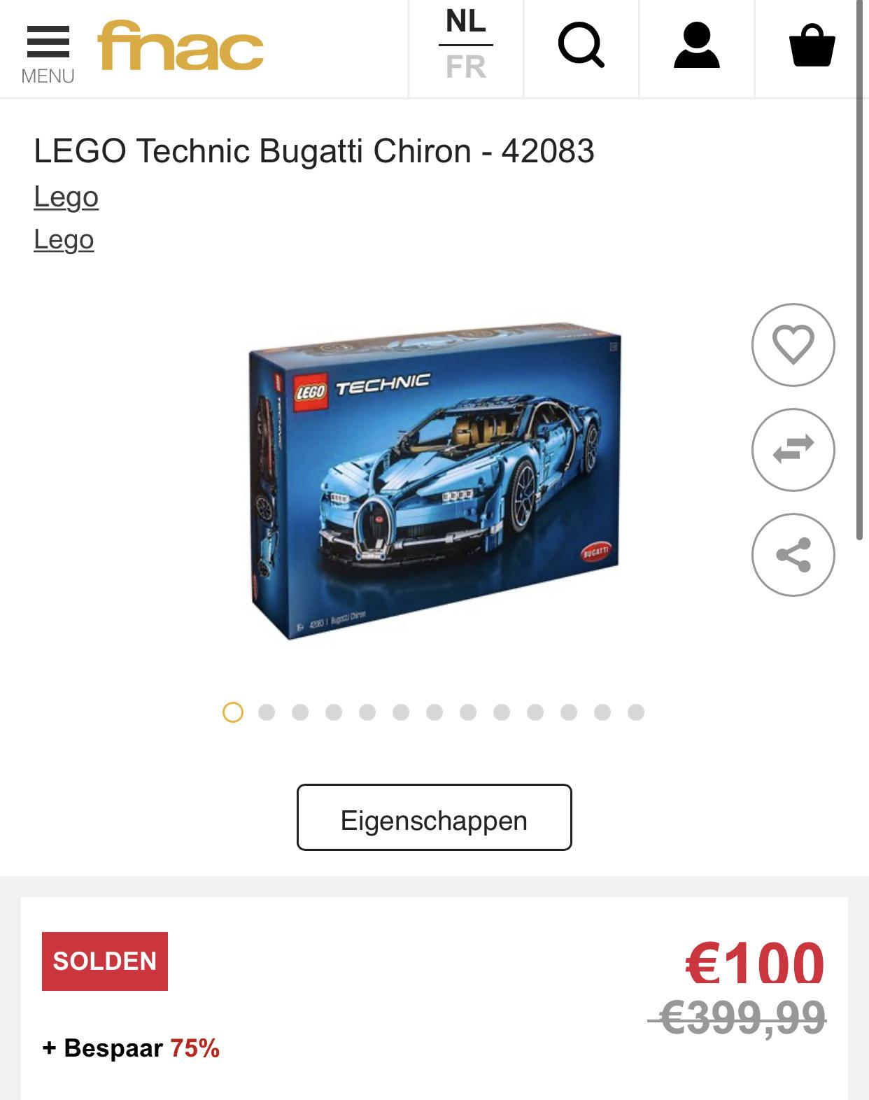 Vette prijsfout! Lego Bugatti Chiron voor 100 euro!