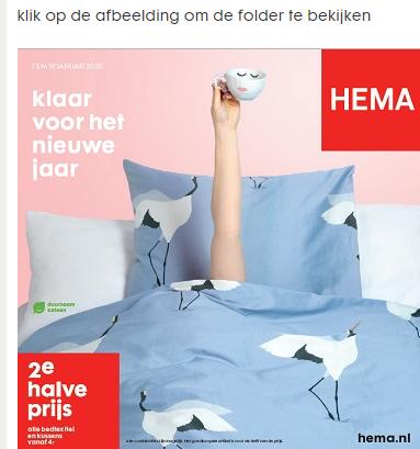 Alle bedtextiel 2e halve prijs bij HEMA