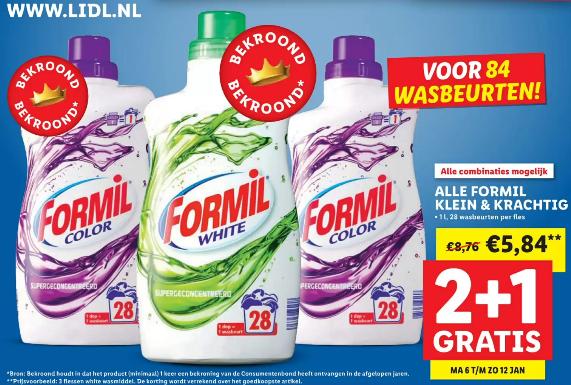 Formil Wasmiddel White/Color 2+1 gratis (84 wasbeurten) voor €5,84 @ LIDL