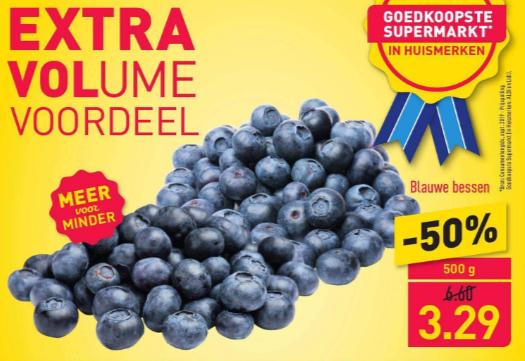 Blauwe bessen (500gram) voor 3,29 bij Aldi