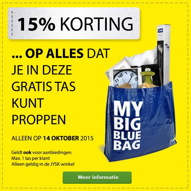 Gratis Big Blue Bag en 15% korting op alles wat er in past @ Jysk
