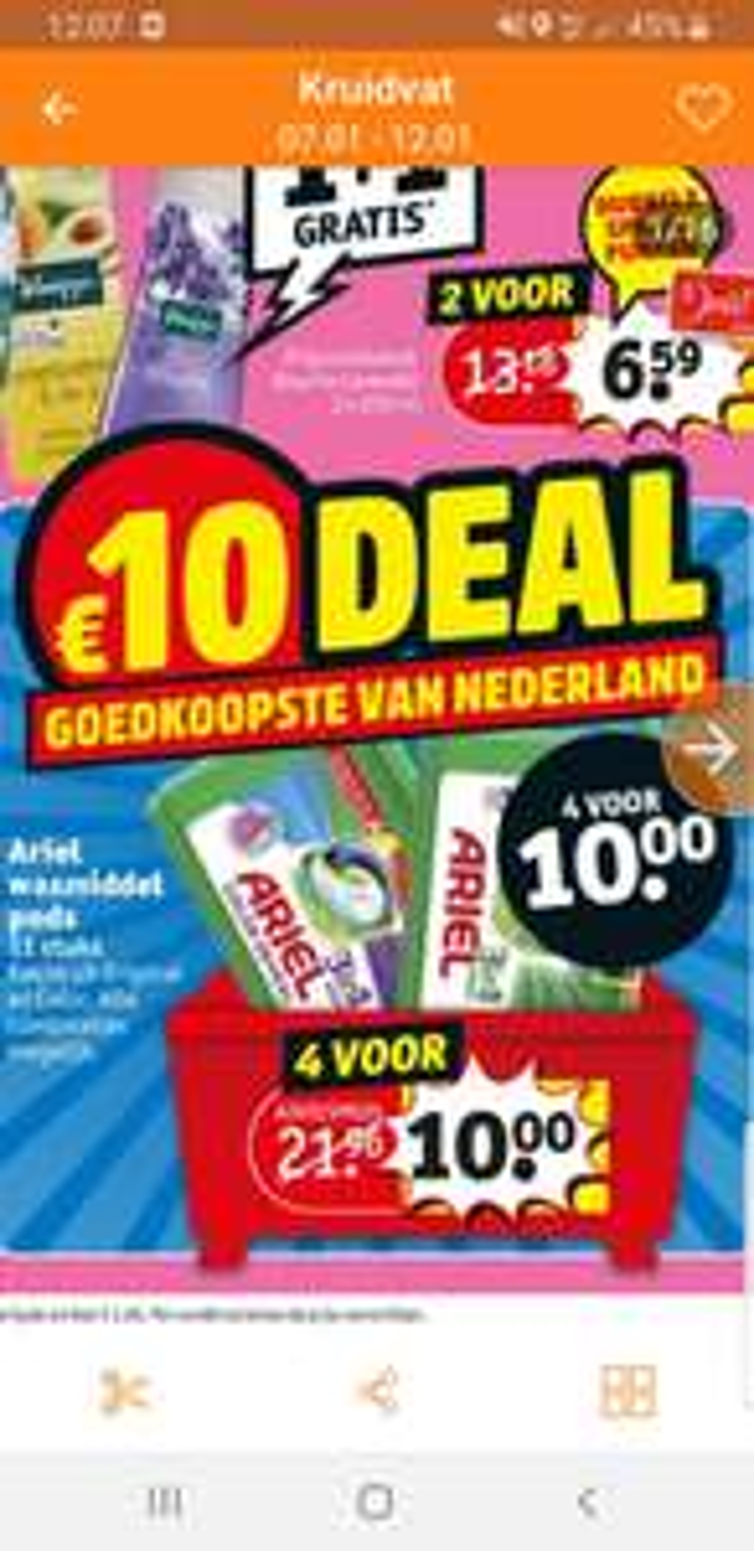 Ariel pods 4 voor €10 vanaf 07-01