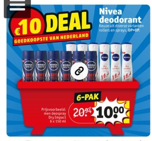 Nivea deo 6 stuks voor €10 @kruidvat