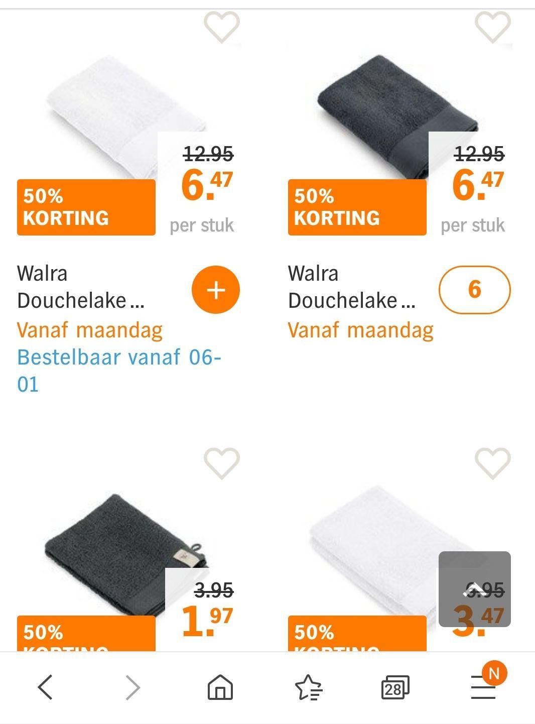 Walra diverse handdoeken 50% bij AH