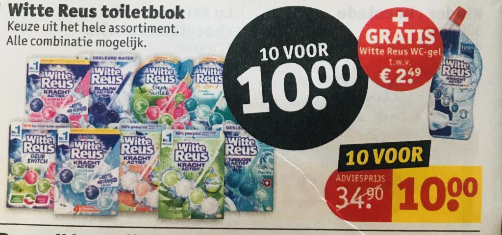 Witte reus:10x toiletblok + gratis wc-gel voor €10,-