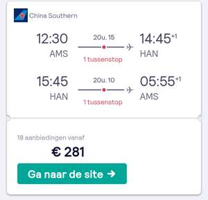 Amsterdam - Hanoi 281 euro!