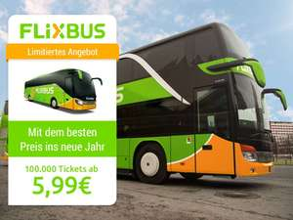 Met Flixbus naar Duitsland voor €5,99 of naar Zwitserland / Oostenrijk voor €9,99