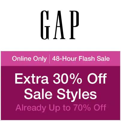 Actie: 30% EXTRA korting op sale (nu al tot -70%) @ GAP