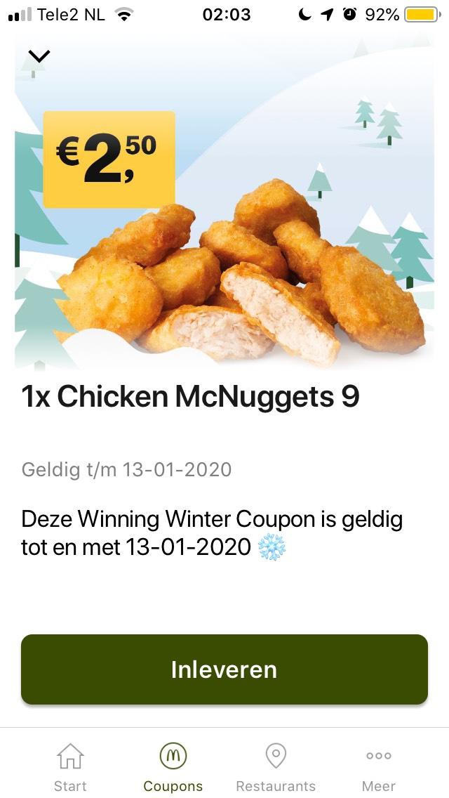 9 Chicken McNuggets voor €2,50 (en kans op een vette prijs)