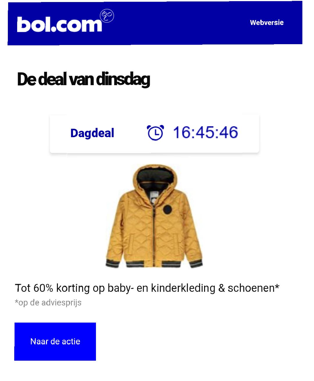 [Dagdeal Bol.com] 60% korting op baby/kinderkleding en schoenen