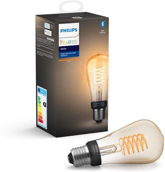 Hue filament Edison lamp bij bol.com (bij 4 lampen 19,76 per stuk)