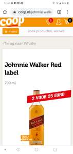 2 flessen Johnnie Walker Scotch Whiskey Red label 700 ml