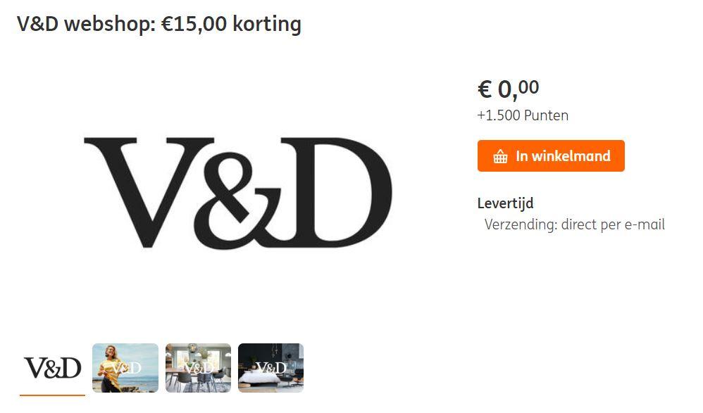 V&D kortingsbon €15 (va €75 - ook sale) 1.500 punten @ ING