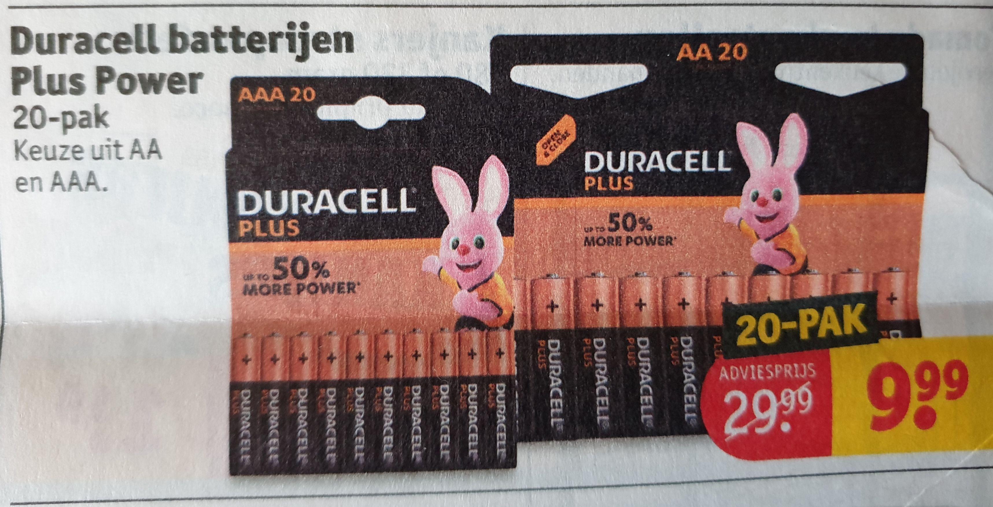 Duracell pak AA en AAA van 20 stuks 9,99