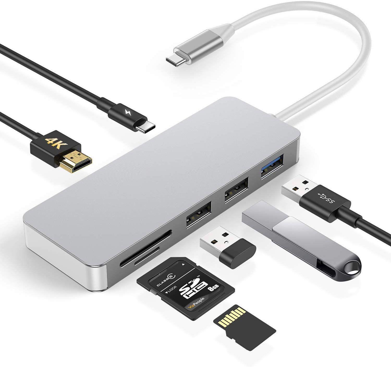 GIKERSY USB C 7-in-1 Hub, aluminium type C-hub adapter 4K HDMI-poorten, SD/Micro SD-kaartlezer, USB 3.0-poort