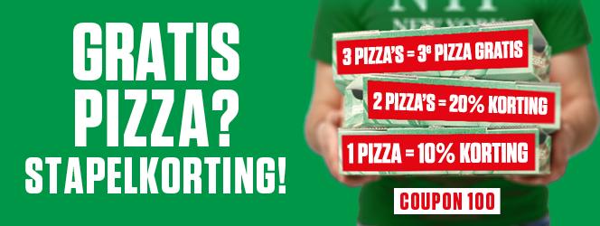 3e pizza gratis (zowel geldig bij bezorgen en afhalen)