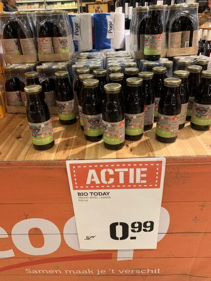 Lokaal? BIO TODAY appel-aardbeisiroop van €5,75 voor €0,99 @ Coop Molukkenstraat in Nijmegen