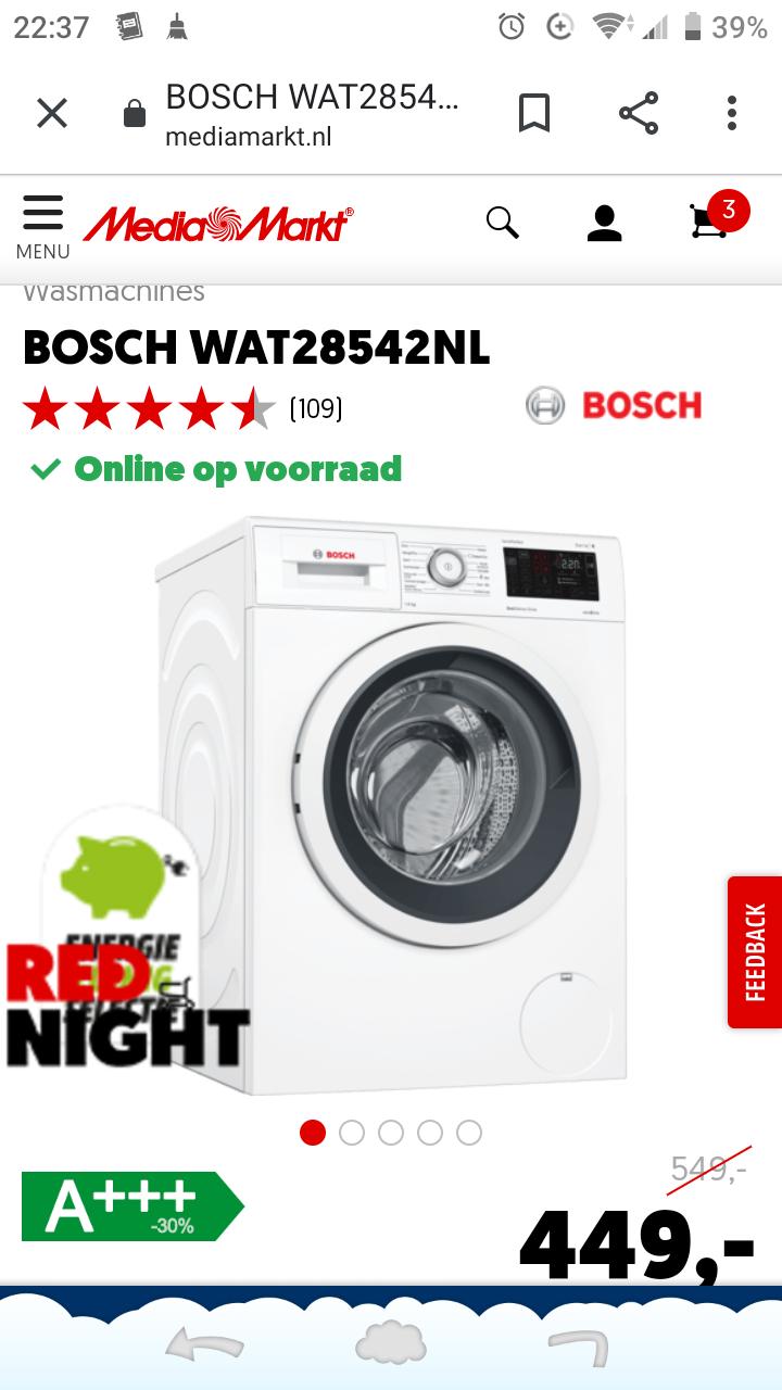 Bosch WAT28542NL 8kg wasmachine Mediamarkt rednight