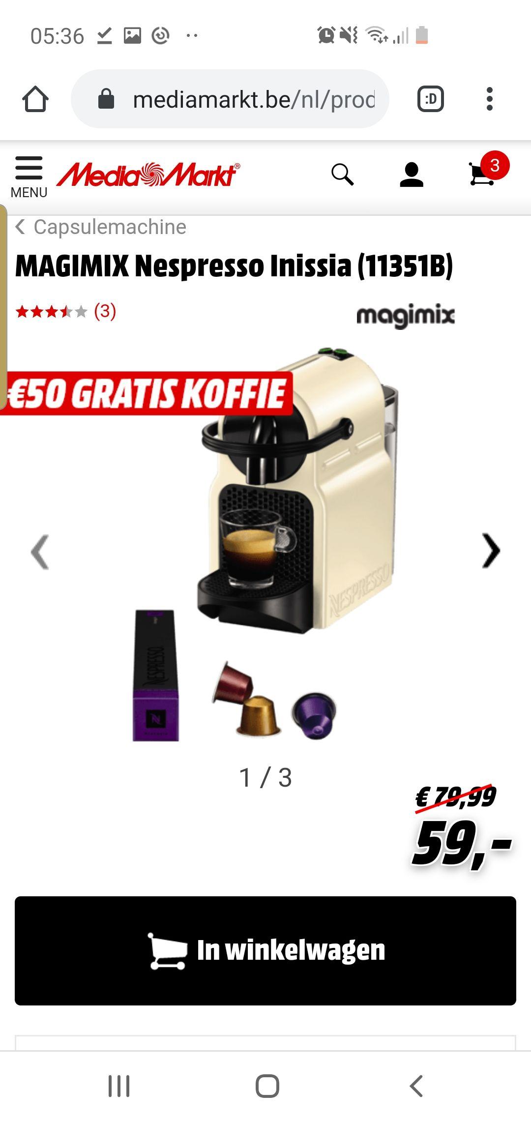 Grensdeal magimix nespresso inisia met 50 euro gratis koffie